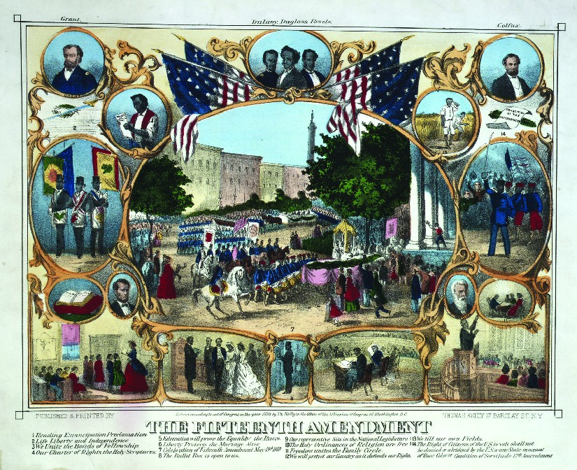 A print from 1870 that shows several scenes of African Americans participating in everyday activities. Under the scenes is the text