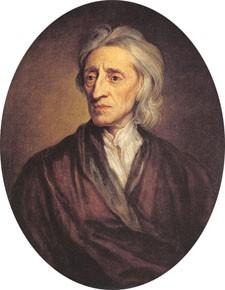 A painting shows John Locke.