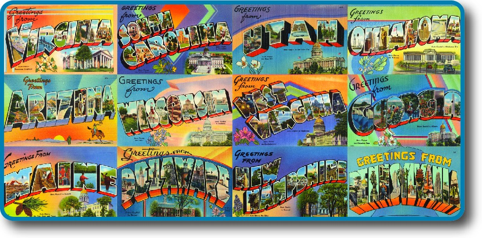 A series of postcards from different states, with the slogan