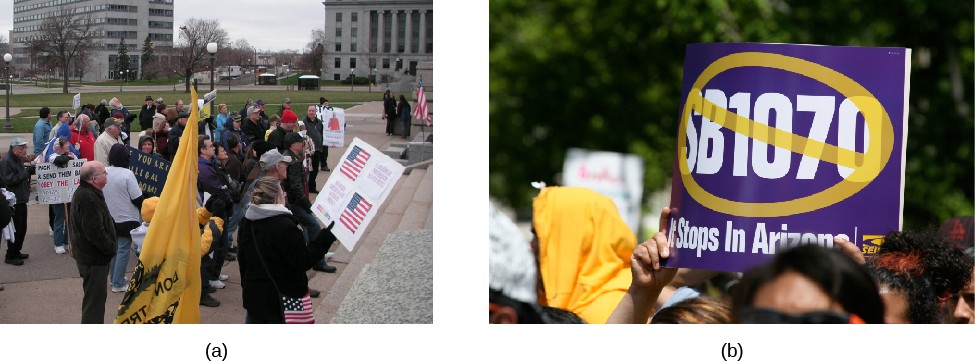 Image A shows a group of people with signs and flags. Image B shows a sign held above a crowd; the sign shows