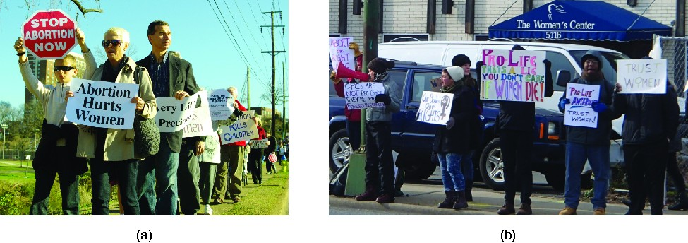 Photo A shows a group of people in a line holding signs. The signs that are visible read