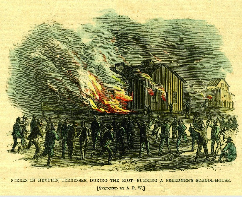 An image of a sketch of a building on fire. Several people are standing outside the building. Some of the people are armed. At the bottom of the image reads