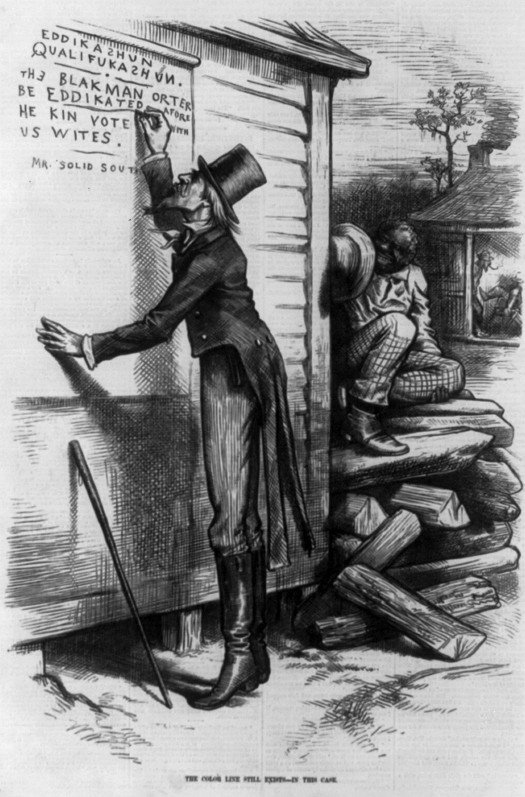 An image of a cartoon. In the foreground a person dressed in a top hat and a coat with tails writes on the wall of a building. The writing reads