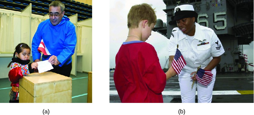 Photo A shows former prime minister of Greenland Hans Enoksen and a child putting a slip of paper in a wooden box. Photo B shows an officer in a navy uniform giving a small American flag to a child.