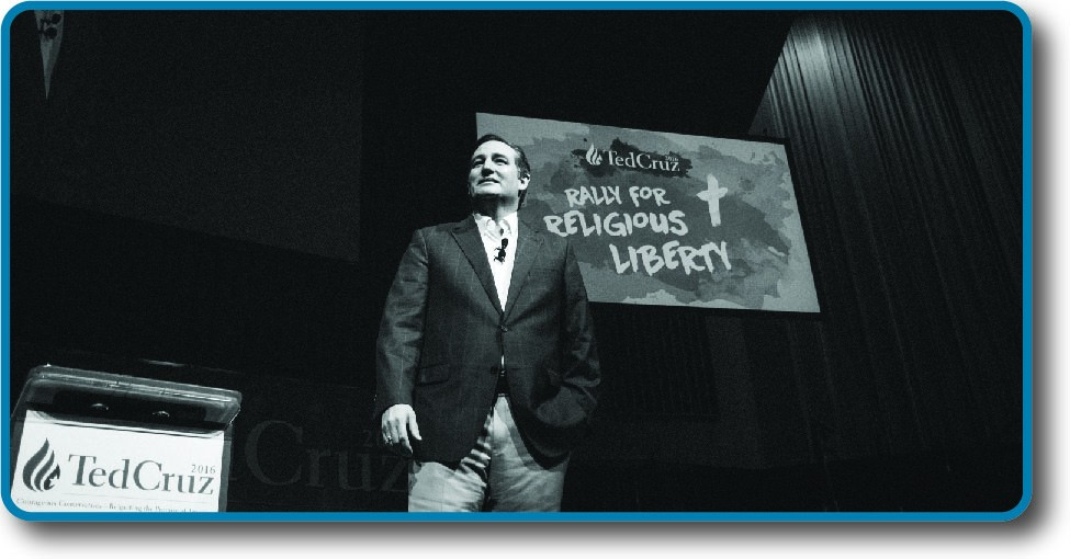 An image of Ted Cruz standing in front of a sign that reads Rally for Religious Liberty