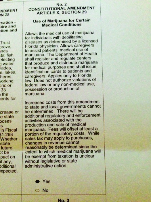 A image of a ballot about the use of marijuana for certain medical conditions