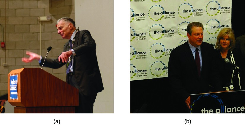 Image A is of Ralph Nader standing behind a podium. Image B is of Al Gore standing behind a podium.