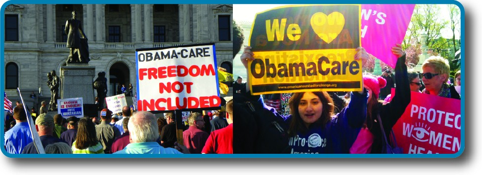 A large group of people in front of Supreme Court building holding signs. Some signs have messages such as as We love Obamacare and others with Obamacare: Freedom not included.
