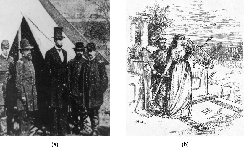 Image A is a photo of Abraham Lincoln meeting with Union Soldiers. Image B is a cartoon of Ulysses S. Grant being shielded from arrows by