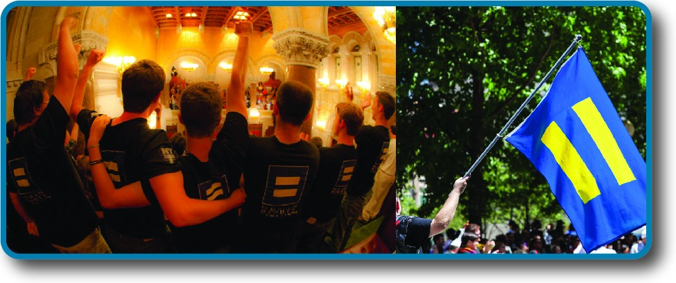 Image on the left is of the back of a group of people. The symbol of an equals sign can be seen on the back of several shirts. Image on the right is of a flag. On the flag is the symbol of an equals sign.