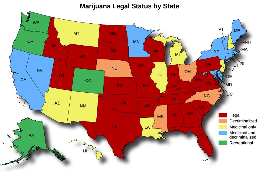 A map of the Unites States titled Marijuana Legal Status by State