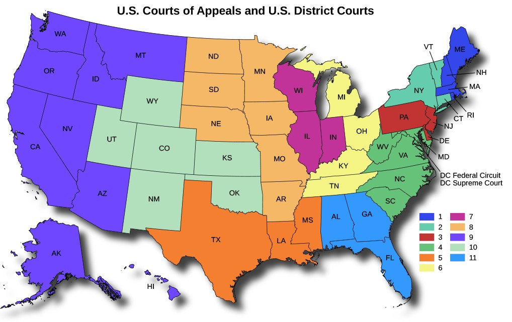 A map of the Unites States titled U.S. Courts of Appeals and U.S. District Courts