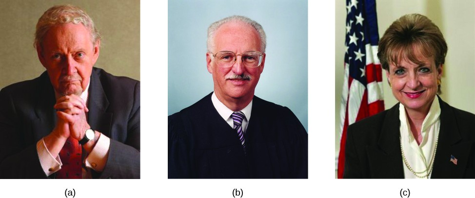 Image A is of Robert Bork. Image B is of Douglas Ginsburg. Image C is of Harriet Miers.