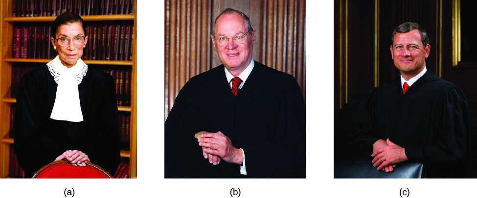 Image A is of Justice Ruth Bader Ginsburg. Image B is of Justice Anthony Kennedy. Image C is of Justice John Roberts.