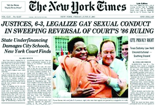 An image of the front page of the New York Times newspaper. The top headline reads