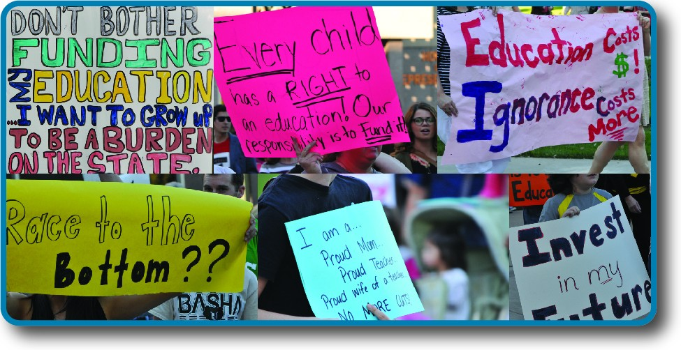 An image of six handwritten signs. The signs have messages such as Every child has a right to an education, our responsibility is to fund it. Other signs have messages like Don't bother funding my education, I want to grow up to be a burden on the state.