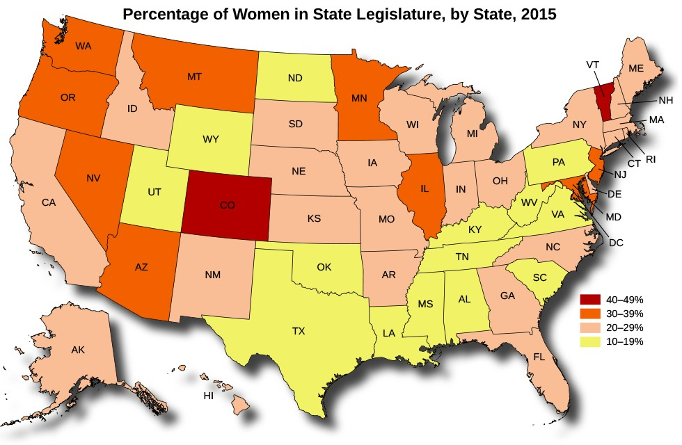 A map of the United States titled Percentage of Women in State Legislature, by State, 2015