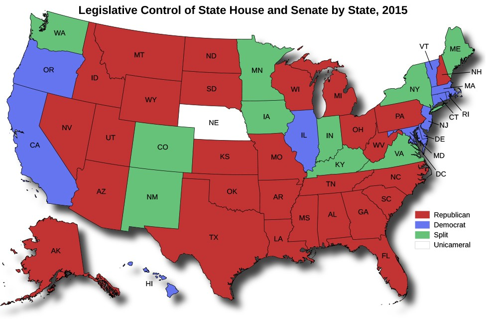 A map of the United States titled Legislative Control of State House and Senate by State, 2015