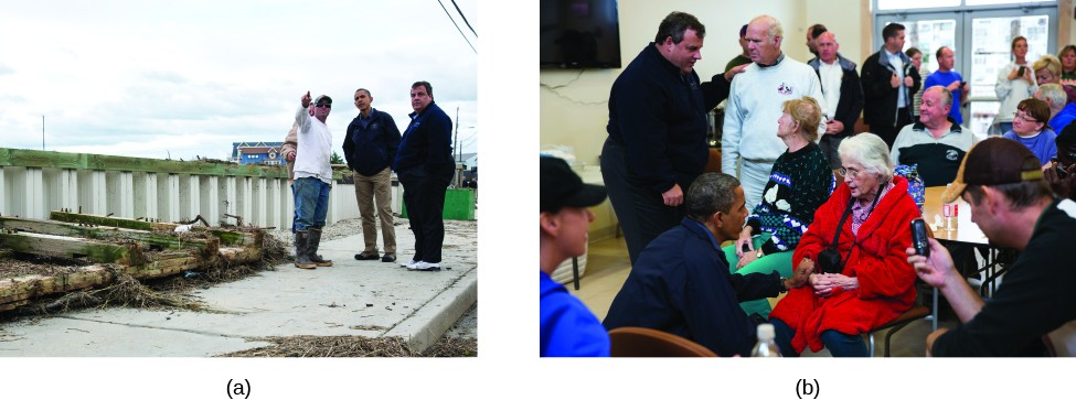 Image A is of Chris Christie and Barack Obama standing on a sidewalk with another person. Image B is of Chris Christie and Barack Obama in a room full of people.
