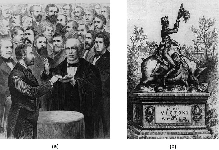 Image A is an illustration of Ulysses S. Grant being sworn in as President of the United States. Image B is a cartoon featuring a statue of Andrew Jackson riding a pig over a bed of skulls. A plaque on the pedestal reads
