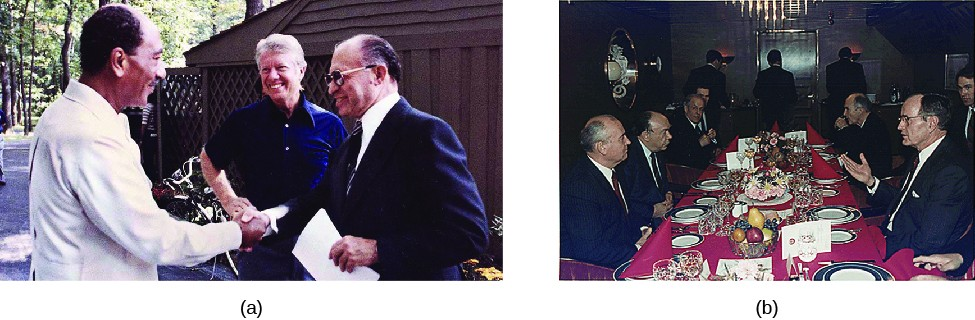 Image A is of Jimmy Carter shaking hands with Anwar El Sadat, with Menachem Begin standing beside them. Image B is of a dinner party with several seated people, including George H. W. Bush and Mikhail Gorbachev.