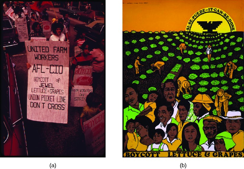 Image A is of a group of people carrying signs. The signs read
