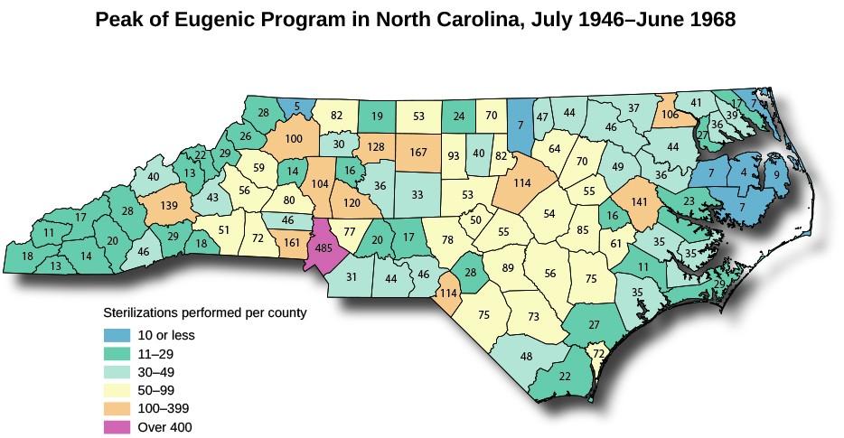A map of North Carolina titled Peak of Eugenic Program in North Carolina, July 1946 to June 1968